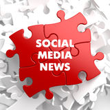 Social Media News on Red Puzzle. Royalty Free Stock Photos