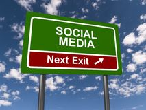 Social media next exit road sign Royalty Free Stock Image