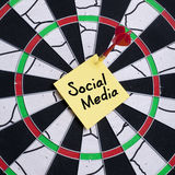 Social media. Note hit on dartboard Stock Images