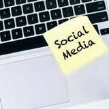 Social media. Note on laptop Stock Image