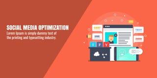 Social media optimization, web analytics, digital marketing, monitoring, content development concept. Flat design vector banner. Modern concept of social media vector illustration
