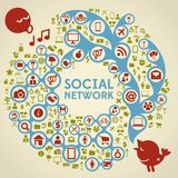 Social Media Ornamental Network with Icons Stock Photo