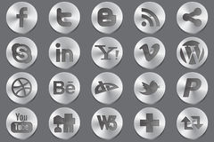 Social media oval icons. For most popular services Stock Image