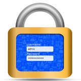 Social media on padlock ,user and password control Royalty Free Stock Photo