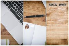 Social media, pc on wooden desk Royalty Free Stock Image