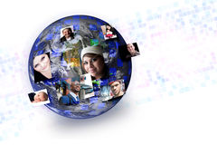 Social Media People Global. People of the world with their photos popping out of different parts of the earth. Works great for social media technology concepts Royalty Free Stock Photo