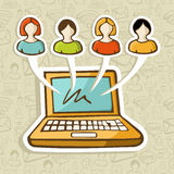 Social media people online interaction. Social media people profiles online connection over icon set in sketch style pattern. Vector illustration layered for