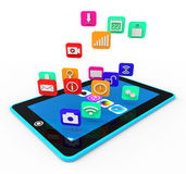 Social Media Phone Means News Feed And Applications Royalty Free Stock Images