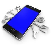 Social Media Phone Represents News Feed And Application Royalty Free Stock Photo