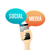 Social Media Phone. Vector illustration of a hand holding a phone with social media talk bubble Stock Photo