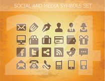 Social and media pictograms set isolated Stock Images