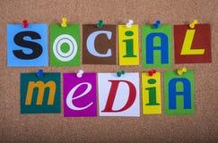 Social Media. Pinned to a Notice Board Stock Photos