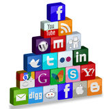 Social media in piramid Royalty Free Stock Images