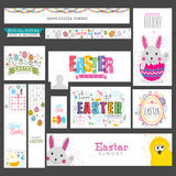 Social Media post and header for Easter. Stock Photos