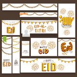 Social media post and header for Eid Mubarak. Beautiful fireworks and lights decorated social media post, header or banner set for famous festival of Muslim Stock Photo
