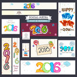 Social Media post and header for New Year. Creative Social Media post and header set for Happy New Year 2016 celebration Stock Image