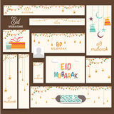 Social media post and header set for Eid Mubarak. Stylish social media post, header or banner set decorated with Islamic elements for Muslim community festival Stock Photos