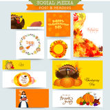 Social media post and header for Thanksgiving Day. Royalty Free Stock Images
