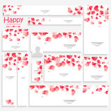 Social media post and header for Valentine's Day. Creative social media post and header set decorated with glossy hearts for Happy Valentine's Day celebration Royalty Free Stock Image