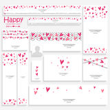 Social media post and header for Valentine's Day. Creative social media post and header set decorated with hearts for Happy Valentine's Day celebration Stock Photo
