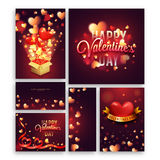 Social Media Post and Header for Valentine`s Day. Glowing Hearts decorated, Creative Social Media Post, Header or Banner set for Happy Valentine`s Day Stock Photo