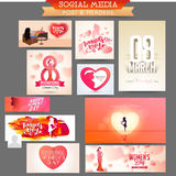 Social Media post and header for Women's Day. Royalty Free Stock Photos