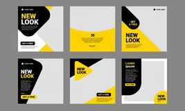 Free Social Media Post Template Yellow Editable Banner Square Royalty Free Stock Photo - 174354545