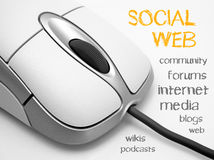 Social media poster. Computer mouse with collection of words related to social media on internet Royalty Free Stock Images