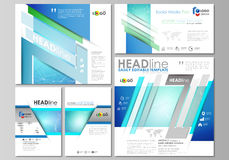 Social media posts set. Abstract flat design template, vector layouts in popular formats. Chemistry pattern, connecting. Social media posts set. Business Stock Photo
