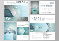 Social media posts set. Business templates. Abstract design template, vector layout in popular formats. Geometric. Background, connected line and dots Stock Image