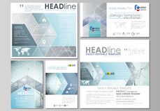 Social media posts set. Business templates. Abstract design template, vector layouts in popular formats. Chemistry. Social media posts set. Business templates Stock Image