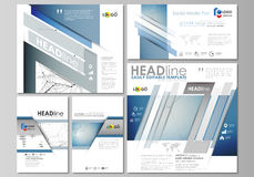 Social media posts set. Business templates. Abstract design template, vector layouts in popular formats. Geometric blue. Social media posts set. Business Royalty Free Stock Photo