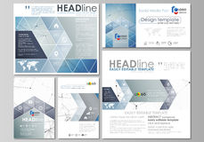 Social media posts set. Business templates. Abstract design template, vector layouts in popular formats. Geometric blue. Social media posts set. Business Stock Image