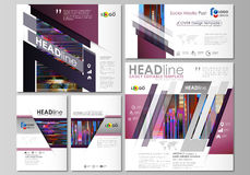 Social media posts set. Business templates. Abstract design vector layouts. Glitched background made of colorful pixel Royalty Free Stock Photo
