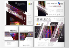 Social media posts set. Business templates. Abstract design vector layouts. Glitched background made of colorful pixel Stock Photography