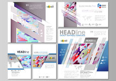 Social media posts set. Business templates. Abstract design vector layouts in popular formats. Bright color lines and Stock Photo