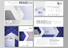 Social media posts set. Business templates. Abstract flat design template, vector layouts in popular format. Shiny. Social media posts set. Business templates stock illustration