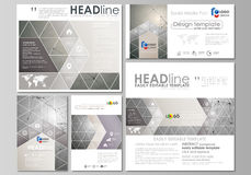 Social media posts set. Business templates. Abstract flat design template, vector layouts in popular formats. Chemistry. Social media posts set. Business Royalty Free Stock Image