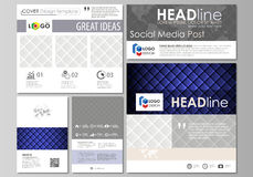 Social media posts set. Business templates. Abstract flat design template, vector layouts in popular formats. Shiny. Social media posts set. Business templates Royalty Free Stock Images