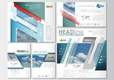 Social media posts set. Business templates. Cover design template, easy editable, abstract blue flat layouts in popular Stock Photography