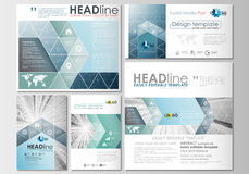 Social media posts set. Business templates. Cover design template. Easy editable, abstract flat layouts in popular formats. Abstract blue or gray business Stock Photos