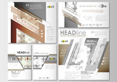 Social media posts set. Business templates. Cover design template, easy editable, flat layouts in popular formats Stock Photos