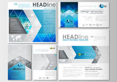 Social media posts set. Business templates. Cover design template, flat layouts in popular formats. Abstract triangles Stock Images