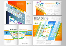Social media posts set. Business templates. Cover template, easy editable Stock Images