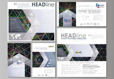 Social media posts set. Business templates. Easy editable abstract flat design template, vector layouts in popular. Formats. Bright color lines, colorful royalty free illustration