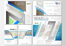 Social media posts set. Business templates. Easy editable layouts in popular formats. City map with streets. Flat design. Social media posts set. Business Royalty Free Stock Photography