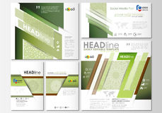 Social media posts set. Business templates. Flat design template, abstract layouts. Green color background with leaves. Social media posts set. Business Stock Photos