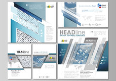 Social media posts set. Business templates. Flat style template, layouts in popular formats. Blue color pattern with Royalty Free Stock Images