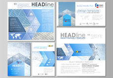 Social media posts set. Business templates. Vector layouts in popular formats. Blue color abstract infographic stock illustration