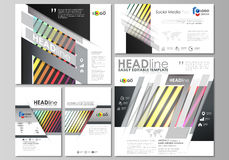 Social media posts set. Business templates. Vector layouts in popular formats. Bright color rectangles, colorful design Stock Images